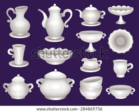 collection of porcelain tableware for tea  - stock vector