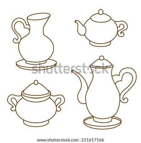 collection of porcelain tableware for tea (coloring book) - stock vector