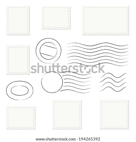 Collection of postage stamps and letter stamp - stock vector