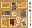 Collection of postal stamps and labels with pumpkin theme - every object on separate layer - stock vector