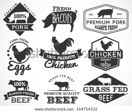 Collection of Premium Beef, Chicken and Pork Labels and Design Elements in Vintage Style - stock vector