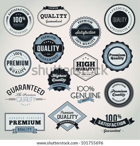 Collection of Premium Quality and Guarantee labels and badges - stock vector