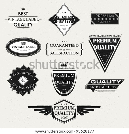 Collection of Premium Quality and Guarantee Labels and frames with retro vintage styled design - stock vector