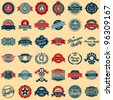 Collection of Premium Quality and Guarantee Labels retro vintage style design. 100% Premium Quality Guarantee vector sign set. - stock