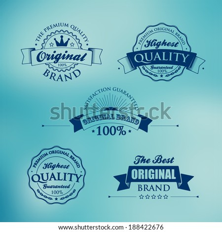 Collection of Premium Quality and Guarantee Labels with retro vintage styled design on blur background. Vector set and Vector background for you. - stock vector