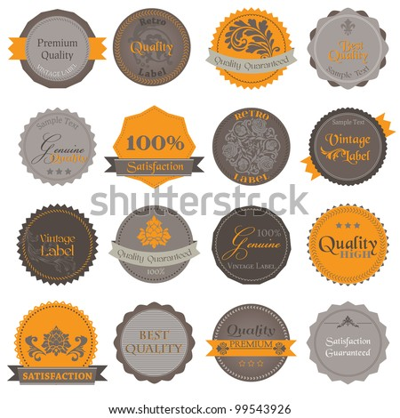 Collection of Premium Quality and Guarantee Labels with vintage design in vector - stock vector