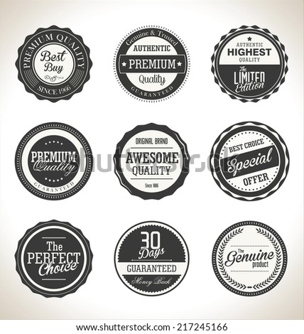 Collection of Premium Quality and Guarantee retro Labels - stock vector