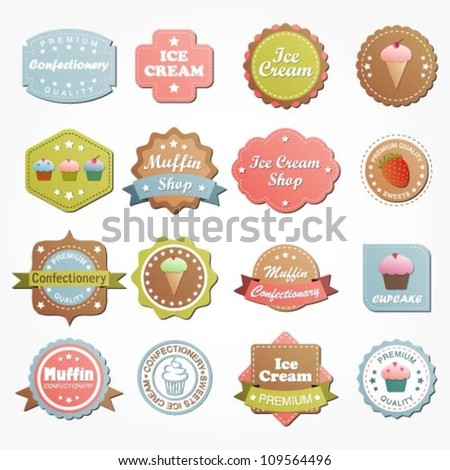 Collection of premium quality ice cream, muffin, cupcake labels