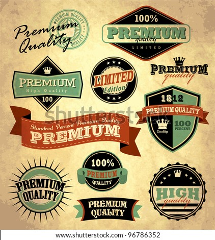 Collection of Premium Quality with retro vintage styled design - stock vector