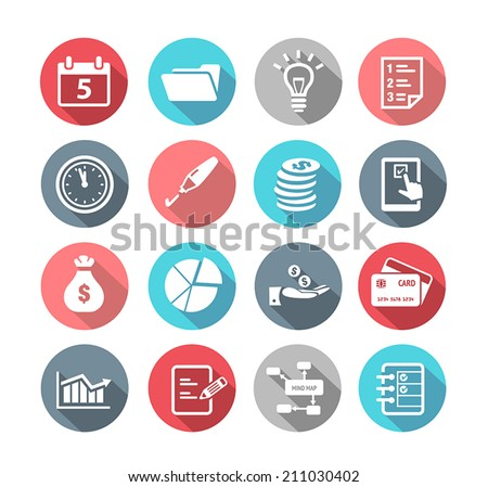 Collection of productivity and time management icons in flat design style - stock vector