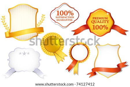Collection of quality labels, illustration - stock vector