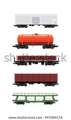 Collection of rail freight wagons. Five different types of cars include freight cars, dump-car, open wagon, road cars, refrigerators, hopper, tank and other