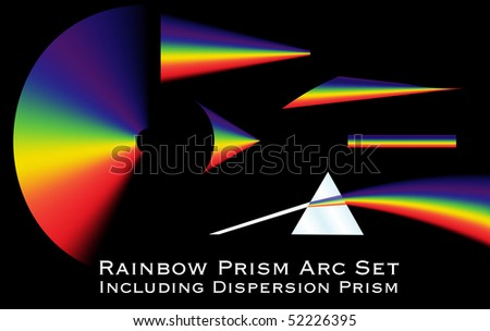 Collection of rainbow arcs including a dispersion prism illustration. - stock vector