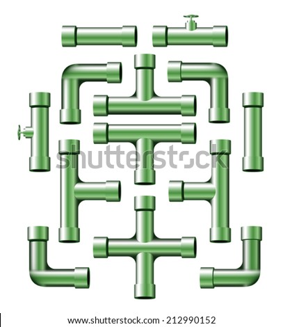 Collection of realistic chrome green pipe pieces of various shapes and lengths. Eps 10 Vector. - stock vector