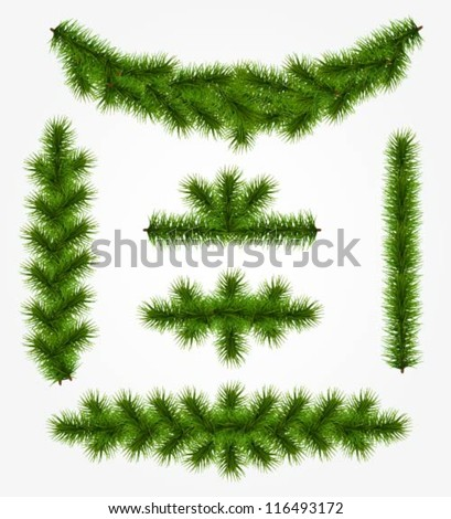 Collection of realistic fir tree garlands - stock vector