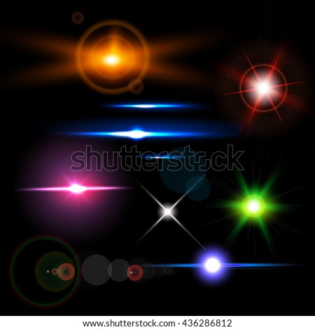 Collection of realistic light glare, highlight. Beautiful bright lens flares. - stock vector