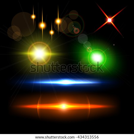 Collection of realistic light glare, highlight. Collection of beautiful bright lens flares. - stock vector