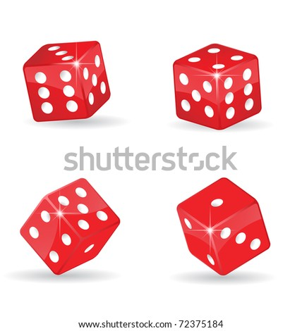 Collection of realistic, shiny rolling red dice, eps10 vector - stock vector