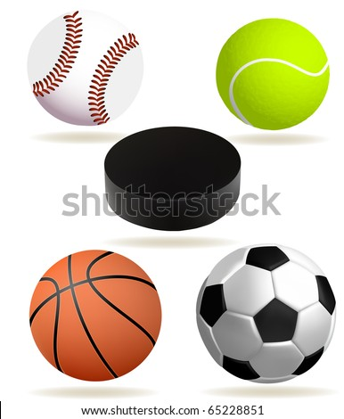 Collection of realistic sports balls (eps10 vector) - stock vector