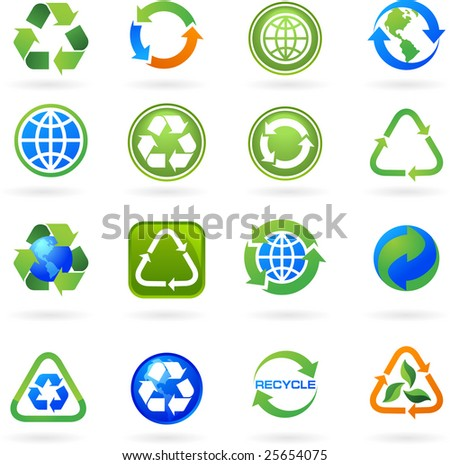 Collection of recycle icons - stock vector