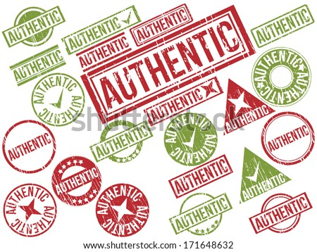 "Collection of 22 red and green grunge rubber stamps with text ""AUTHENTIC"" . Vector illustration"