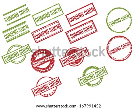 """Collection of 13 red and green grunge rubber stamps with text """"COMING SOON"""" . Vector illustration - stock vector"""