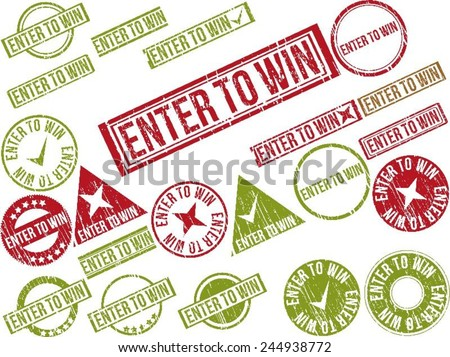 "Collection of 22 red and green grunge rubber stamps with text ""ENTER TO WIN"" . Vector illustration - stock vector"