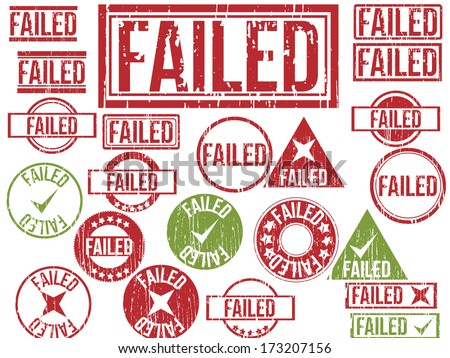 """Collection of 22 red and green grunge rubber stamps with text """"FAILED"""" . Vector illustration - stock vector"""
