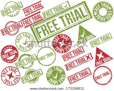 "Collection of 22 red and green grunge rubber stamps with text ""FREE TRIAL"" . Vector illustration"