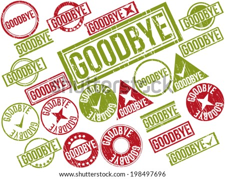 "Collection of 22 red and green grunge rubber stamps with text ""GOODBYE"" . Vector illustration."
