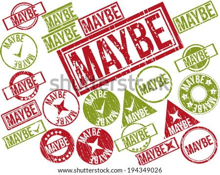 "Collection of 22 red and green grunge rubber stamps with text ""MAYBE"" . Vector illustration."