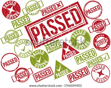 "Collection of 22 red and green grunge rubber stamps with text ""PASSED"" . Vector illustration."