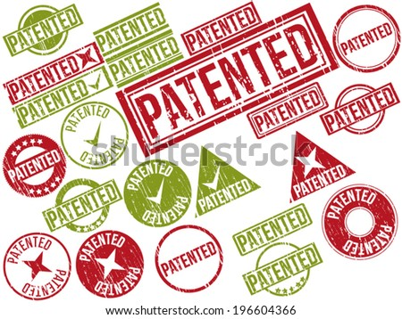 "Collection of 22 red and green grunge rubber stamps with text ""PATENTED"" . Vector illustration. - stock vector"