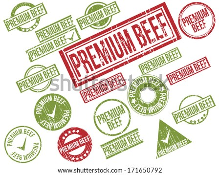 """Collection of 18 red and green grunge rubber stamps with text """"PREMIUM BEEF"""" . Vector illustration - stock vector"""