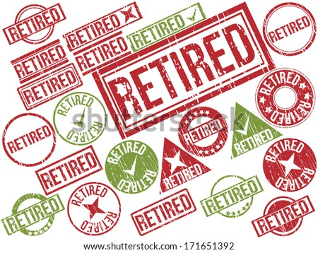 "Collection of 22 red and green grunge rubber stamps with text ""RETIRED"" . Vector illustration"