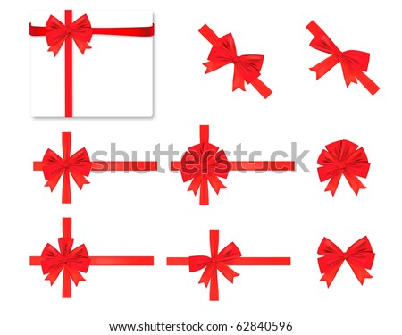Collection of red bows. Vector. - stock vector