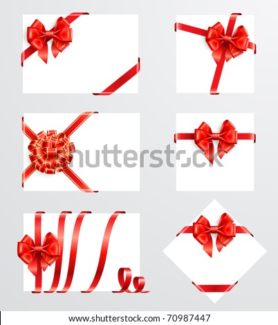 Collection of red bows with greeting cards. Vector illustration - stock vector