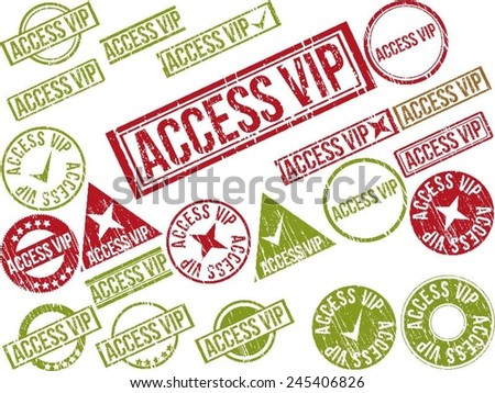 "Collection of 22 red grunge rubber stamps with text ""ACCESS VIP"" . Vector illustration"