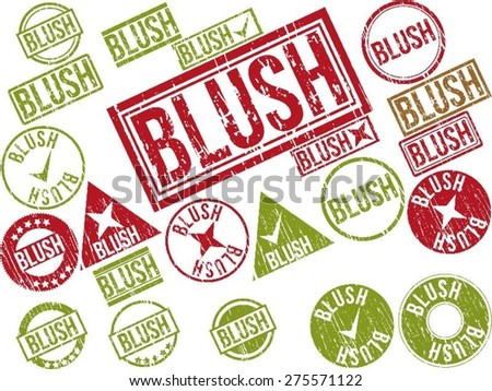 "Collection of 22 red grunge rubber stamps with text ""BLUSH"" . Vector illustration"