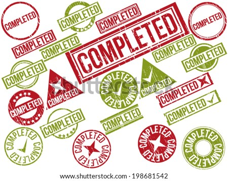 "Collection of 22 red grunge rubber stamps with text ""COMPLETED"" . Vector illustration - stock vector"