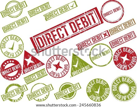 "Collection of 22 red grunge rubber stamps with text ""DIRECT DEBIT"" . Vector illustration - stock vector"