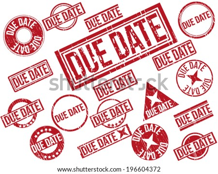 "Collection of 22 red grunge rubber stamps with text ""DUE DATE"" . Vector illustration. - stock vector"
