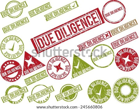 "Collection of 22 red grunge rubber stamps with text ""DUE DILIGENCE"" . Vector illustration - stock vector"
