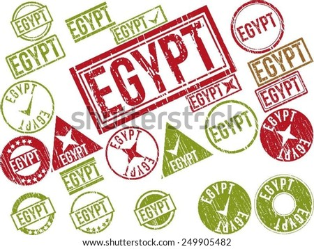 "Collection of 22 red grunge rubber stamps with text ""EGYPT"" . Vector illustration"