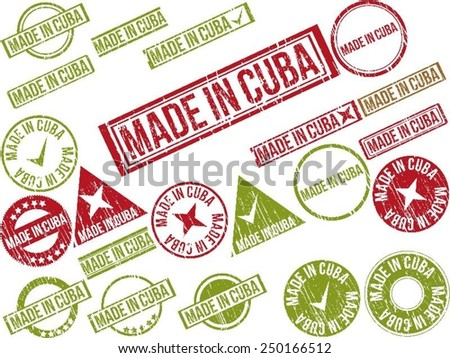 "Collection of 22 red grunge rubber stamps with text ""MADE IN CUBA"" . Vector illustration - stock vector"