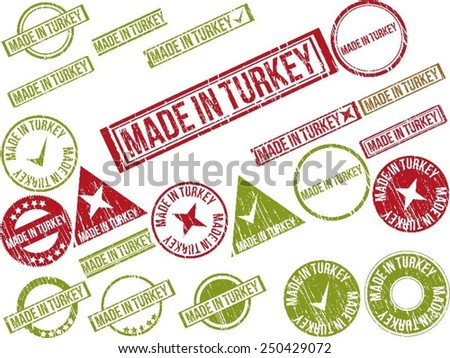 "Collection of 22 red grunge rubber stamps with text ""MADE IN TURKEY"" . Vector illustration - stock vector"