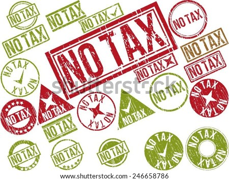 "Collection of 22 red grunge rubber stamps with text ""NO TAX"" . Vector illustration - stock vector"