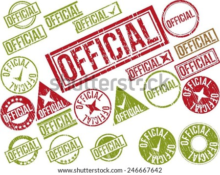 """Collection of 22 red grunge rubber stamps with text """"OFFICIAL"""" . Vector illustration - stock vector"""