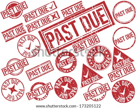 "Collection of 22 red grunge rubber stamps with text ""PAST DUE"" . Vector illustration. - stock vector"