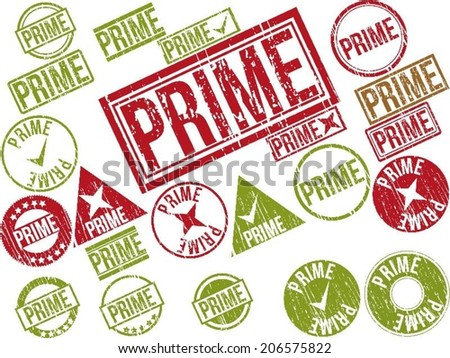 "Collection of 22 red grunge rubber stamps with text ""PRIME"" . Vector illustration"